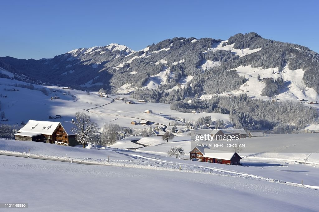 Huts Winter Landscape Canton Of Appenzell Innerrhoden