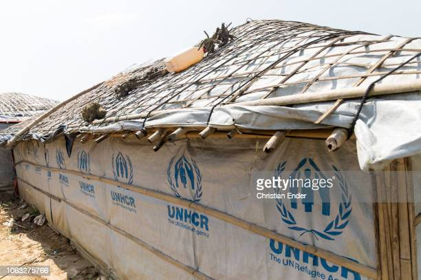 Kutupalong Ukhiya near Cox´s Bazar Bangladesh October 16 2018 Huts with the inscription UNHCR in the refugee camp of the Rohingya people near Cox's...