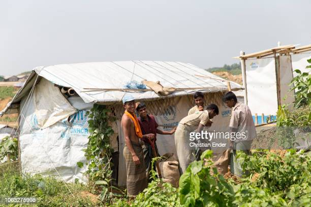 Kutupalong Ukhiya near Cox´s Bazar Bangladesh October 16 2018 Huts with the logo at the facade from the UNHCR in the refugee camp of the Rohingya...