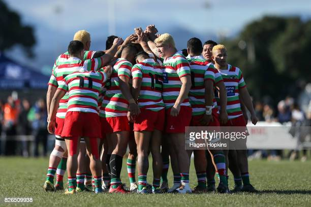 Hutt Old Boys Marist form a team huddle during Jubilee Cup final between Old BoysUniversity and Hutt Old Boys Marist at Petone Recreation Ground on...