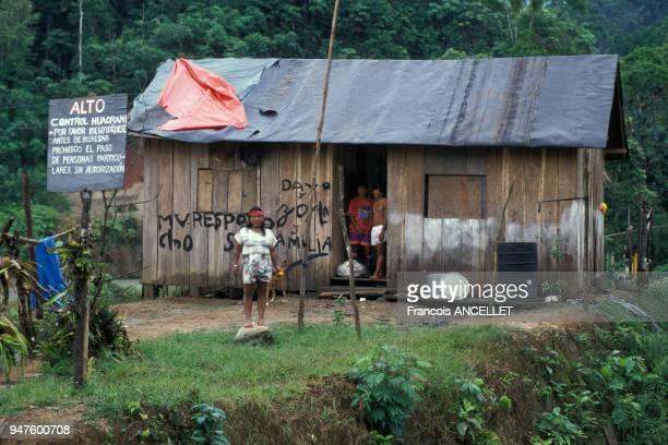 Hutte d'une famille d'indiens Huaorani en Equateur
