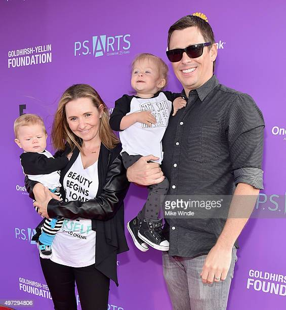Hutton Michael Cameron actress Beverley Mitchell Kenzie Cameron and accountant Michael Cameron attend Express Yourself 2015 to benefit PS ARTS...
