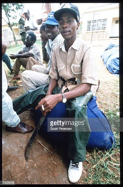 Hutu militia men pose May 25 1994 in Rwanda Following the assassination of President Juvenal Habyarimana in April 1994 genocide of unprecedented...