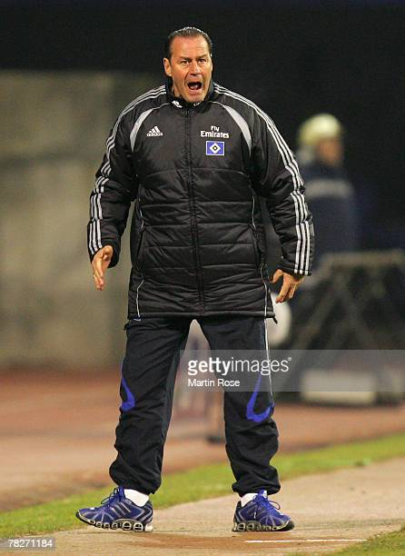 Huub Stevens head coach of Hamburg reacts during the UEFA Cup Group D match between Dinamo Zagreb and Hamburger SV at the Maksimir stadium on...
