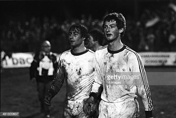 Huub Stevens of PSV Ernie Brandts of PSV during the Europa Cup 3 final between Bastia and PSV on may 26 1978 at the Furiani stadium in Bastia France