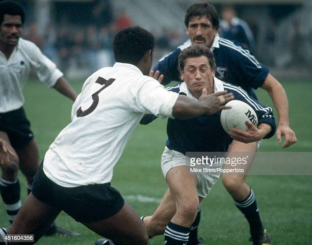 Huw Davies of Swansea with the ball during the International rugby union match between Swansea and Fiji at St Helen's in Swansea 16th October 1985...