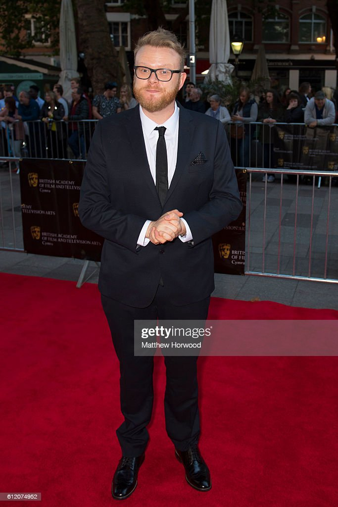 Huw Stephens arrives for the 25th British Academy Cymru Awards at St David's Hall on October 2, 2016 in Cardiff, Wales.