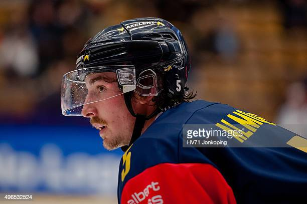 HV71Adam Almqvist during the Champions Hockey League round of eight game between HV71 Jonkoping and Espoo Blues on November 10, 2015 in Jonkoping,...