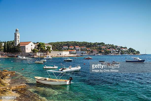 hvar bay boats - hvar stock photos and pictures