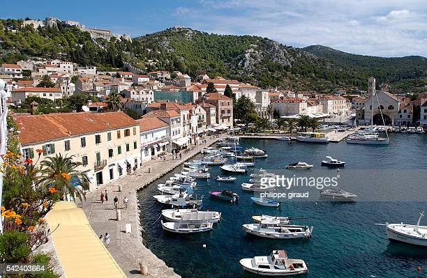Hvar from the terrace of the Adriatic Hotel with the Spanish fortress on the left | Location Hvar Dalmatia Croatia