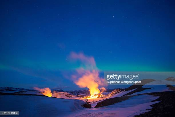 Hverarondor Hverir geothermal area with Aurora in the north of Iceland near Lake Myvatn