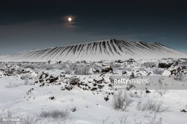 hverfjall volcano - moonlight - iceland - volcanic landscape stock pictures, royalty-free photos & images