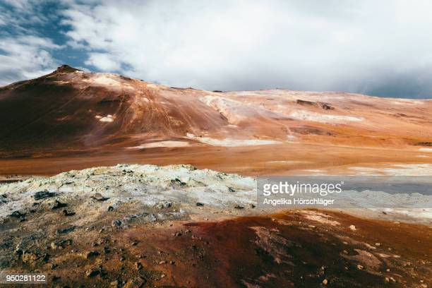 hverir - surreal namafjall geothermal area - volcanic terrain stock pictures, royalty-free photos & images
