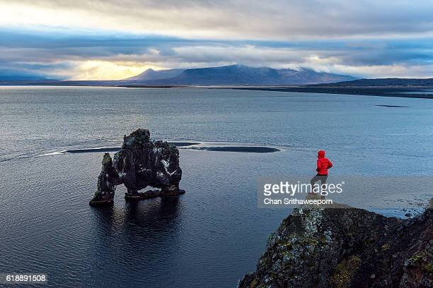 hvitserkur , iceland - the hobbit: an unexpected journey stock pictures, royalty-free photos & images