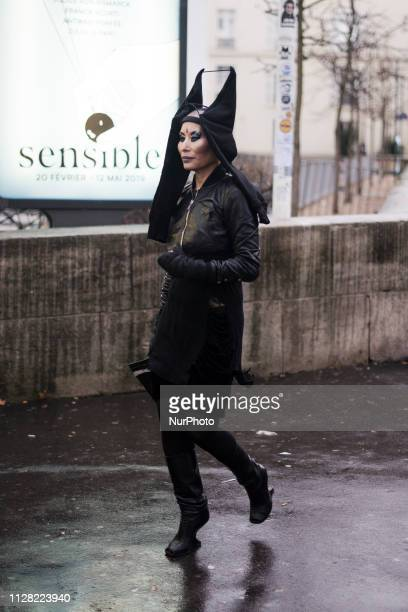 Hwahwa Lala is seen on the street during Paris Fashion Week AW19 wearing Redemption on February 28 2019 in Paris France