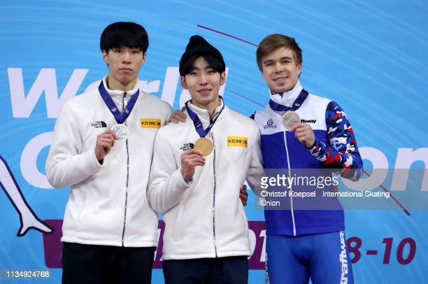 Hwan Dae Heong of the Republic of Korea , Lim Hyo Jun of the Republic of Kore and Semen Elistratov of Russia pose during the medal ceremony of the...