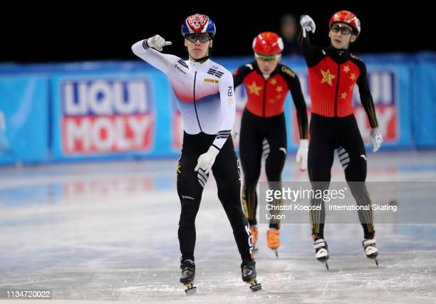 Hwang Dae Heon of Republic of Korea celebrates winning the men 500 meter final A of the ISU World Short Track Speed Skating Championships Day 2 at...