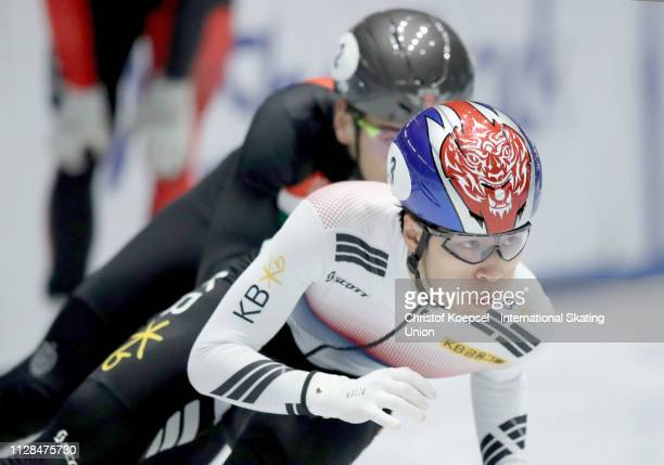 Hwang Dae Heon of Republic of Korea skates in front and won the men 500 meter final A during the ISU Short Track World Cup Day 1 at Tazzoli Ice Rink...