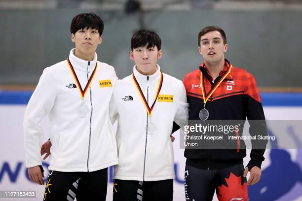 Hwang Daeheon of Republic of Korea celebrates winning the second place Lim Hyo Jun of Republic of Korea celebrates winning the first place and Cedrik...