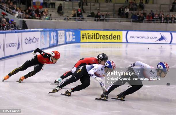 Hwang Daeheon of Republic of Korea skates in front during the men 500 meter final A during the ISU Short Track World Cup Day 2 at EnergieVerbund...