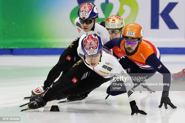 Hwang DaeHeon of South Korea and Sjinkie Knegt of Netherlands compete in the Men 1000m Semifinals during the Audi ISU World Cup Short Track Speed...