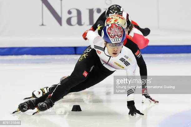 Hwang DaeHeon of South Korea competes in the Men 1000m Final A during the Audi ISU World Cup Short Track Speed Skating at Mokdong Ice Rink on...