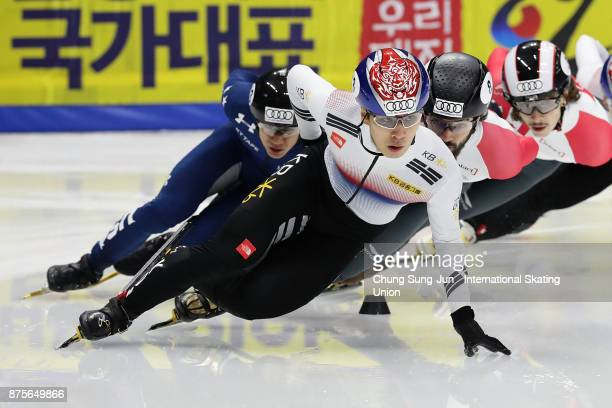 Hwang DaeHeon of South Korea competes in the Men 1500m Final A during the Audi ISU World Cup Short Track Speed Skating at Mokdong Ice Rink on...