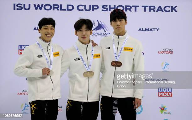 Hwang Daeheon of South Korea during the medal ceremony after winning the 3rd place Lim Hyo Jun of South Korea poses during the medal ceremony after...