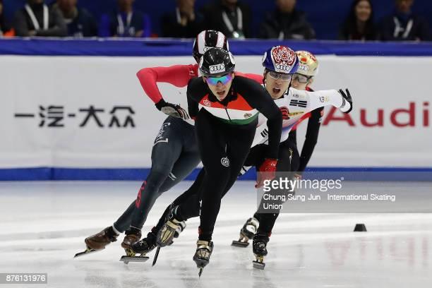Hwang DaeHeon of South Korea Shaolin Sandor Liu of Hungary Samuel Girard of Canada and Dajing Wu of China compete in the Men 1000m Final A during the...
