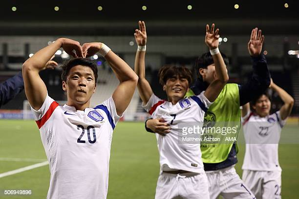 Hwang Hee Chan of South Korea celebrates qualifying for the 2016 Brazil Olympics and into the final after the AFC U23 Championship semi final match...