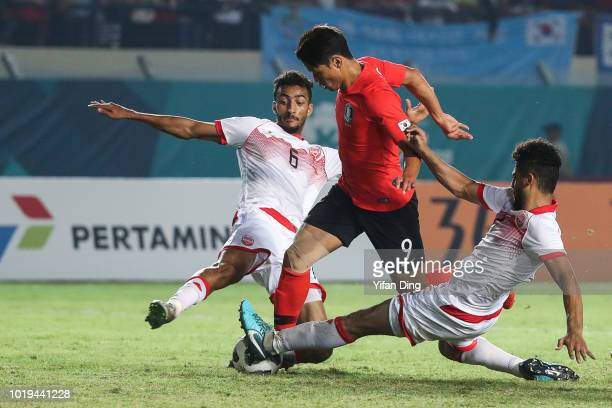 Hwang Hee Chan of South Korea in action during the Men's Football Group E match between South Korea and Bahrain at Si Jalak Harupat Stadium ahead of...