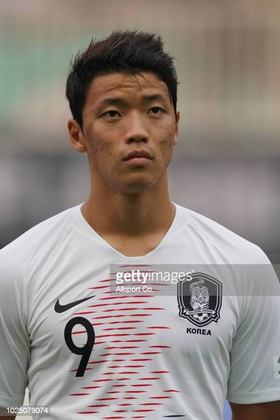 Hwang Hee Chan of South Korea poses during the Men's Footbal semi final competition between Vietnam and South Korea held at the Pakan Sari Stadium on...