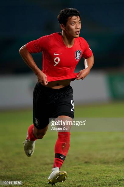 Hwang Hee Chan of South Korea reels away after he scored the penalty against Uzbekistan during the Men's Football Competition Quarter Finals match...