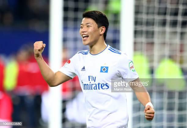 Hwang HeeChan of Hamburg celebrates during the Second Bundesliga match between Hamburger SV and 1 FC Union Berlin at Volksparkstadion on November 26...