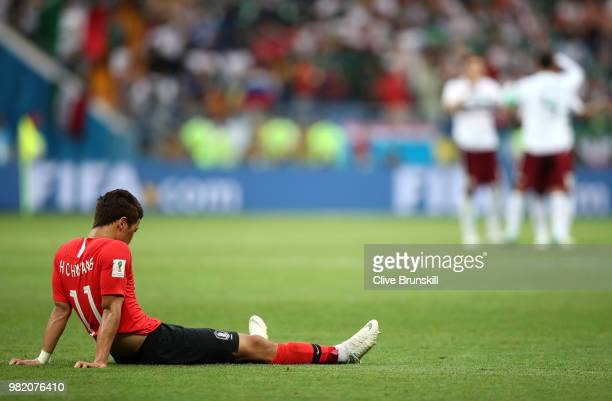 Hwang Heechan of Korea Republic look dejected following during the 2018 FIFA World Cup Russia group F match between Korea Republic and Mexico at...