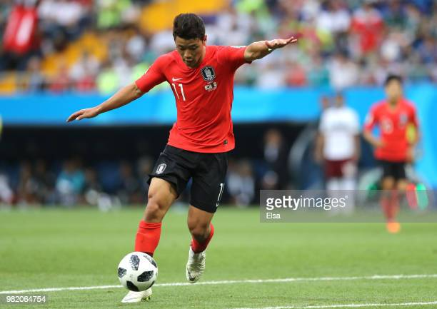 Hwang Heechan of Korea Republic runs with the ball during the 2018 FIFA World Cup Russia group F match between Korea Republic and Mexico at Rostov...