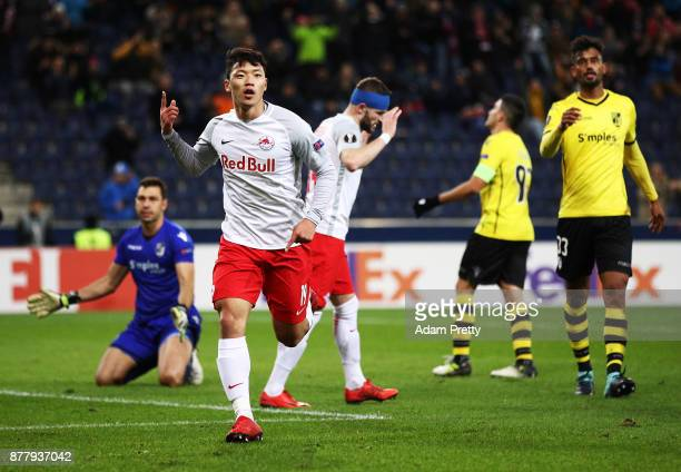 Hwang Heechan of Red Bull Salzburg celebrates after scoring a goal during the UEFA Europa League group I match between FC Salzburg and Vitoria...
