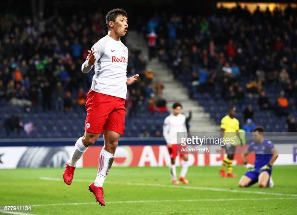 Hwang Hee-chan of Red Bull Salzburg celebrates after scoring a goal during the UEFA Europa League group I match between FC Salzburg and Vitoria...