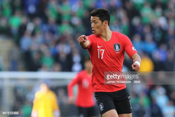 Hwang Heechan of South Korea during an International Friendly fixture between Northern Ireland and Korea Republic at Windsor Park on March 24 2018 in...