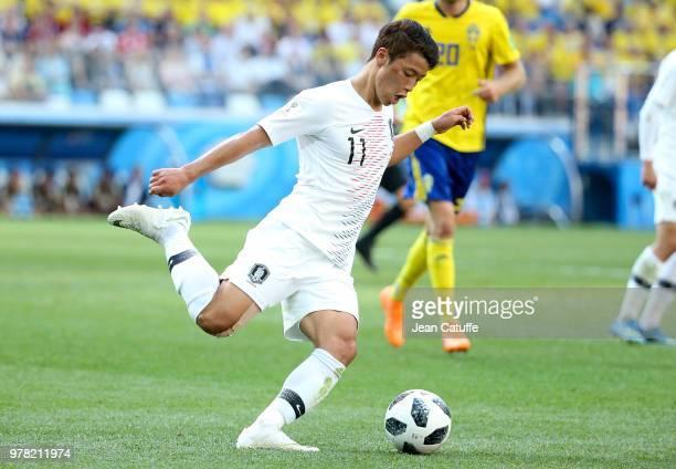 Hwang Heechan of South Korea during the 2018 FIFA World Cup Russia group F match between Sweden and Korea Republic at Nizhniy Novgorod Stadium on...