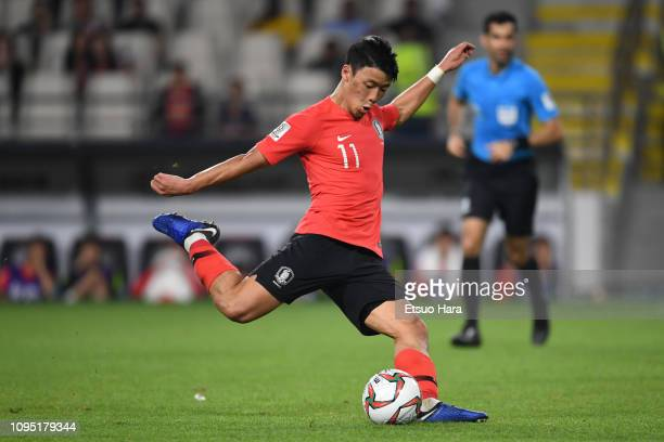 Hwang HeeChan of South Korea in action during the AFC Asian Cup Group C match between South Korea and China at Al Nahyan Stadium on January 16 2019...