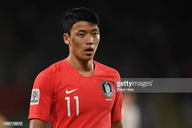 Hwang HeeChan of South Korea looks on during the AFC Asian Cup Group C match between South Korea and China at Al Nahyan Stadium on January 16 2019 in...