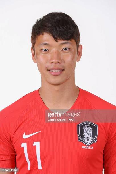 Hwang Heechan of South Korea poses during the official FIFA World Cup 2018 portrait session at on June 14 2018 in Saint Petersburg Russia