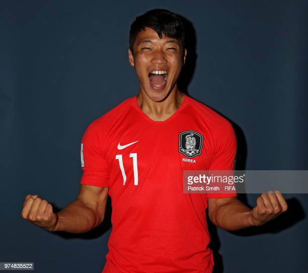 Hwang Heechan of South Korea poses for a portrait during the official FIFA World Cup 2018 portrait session at the New Peterhof Hotel on June 14 2018...