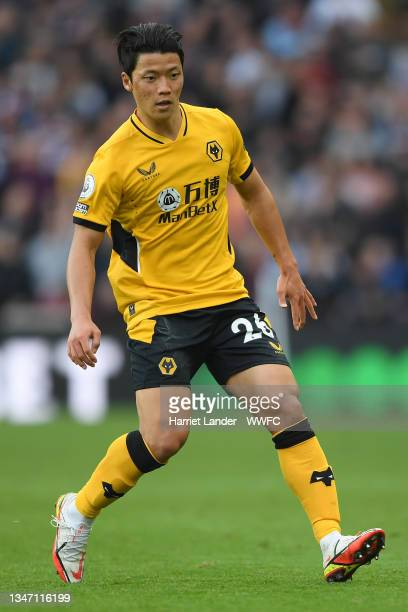 Hwang Hee-chan of Wolverhampton Wanderers runs on during the Premier League match between Aston Villa and Wolverhampton Wanderers at Villa Park on...