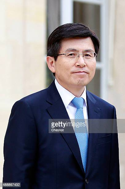 Hwang KyoAhn Korea's Prime Minister waits prior to a meeting with French President Francois Hollande at Elysee Presidential Palace on September 18...
