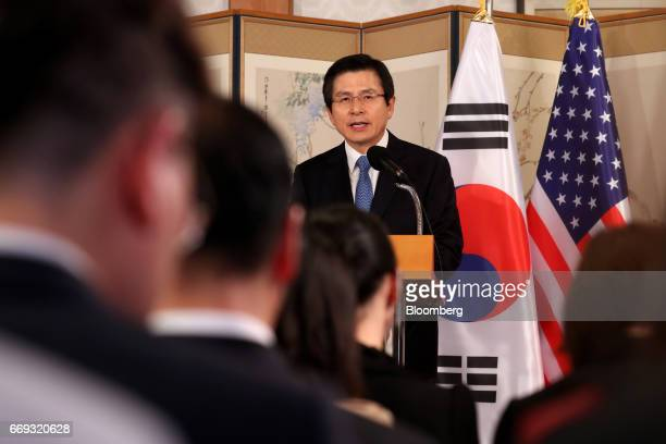 Hwang Kyoahn South Korea's acting president and prime minister speaks during an joint news conference with US Vice President Mike Pence not pictured...