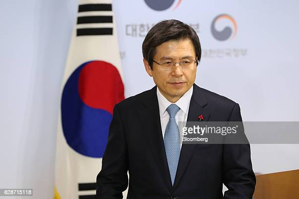 Hwang Kyoahn South Korea's prime minister departs a news conference in Seoul South Korea on Friday Dec 9 2016 South Korean President Park Geunhye...
