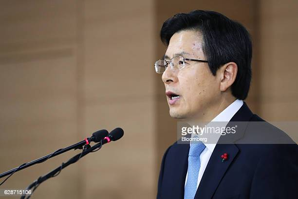 Hwang Kyoahn South Korea's prime minister speaks during a news conference in Seoul South Korea on Friday Dec 9 2016 South Korean President Park...