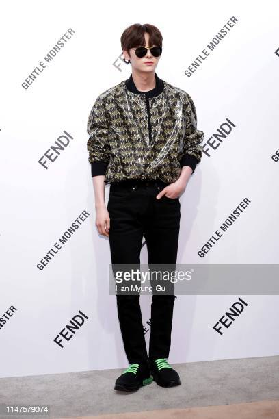 Hwang MinHyun of boy band Wanna One attends the photocall for GENTLE MONSTER X FENDI Collaboration 'Gentle Fendi' collection on May 07 2019 in Seoul...